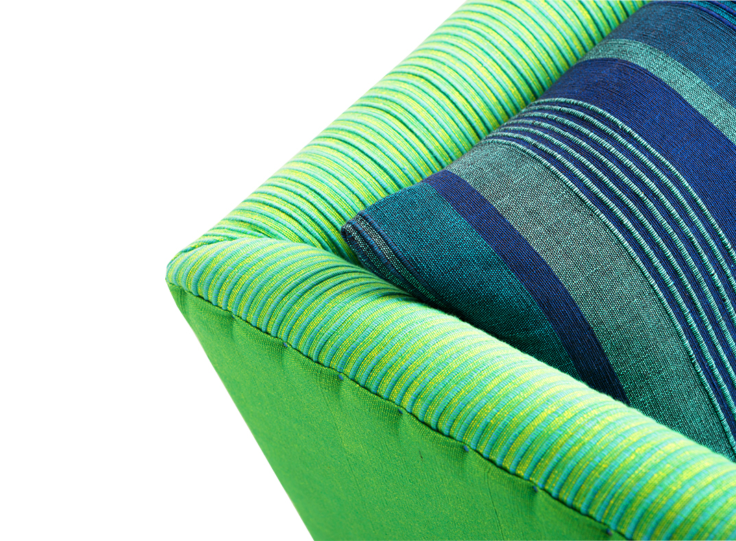 green and blue sofa/ lorraine osborne