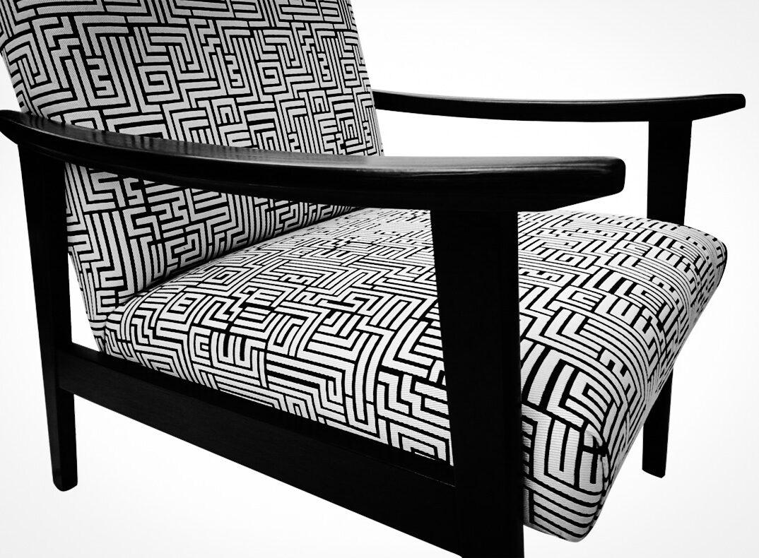lorraine osborne.black and white telly chair