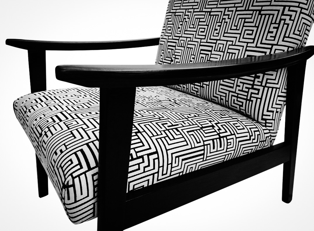 lorraine osborne.black and white telly chair